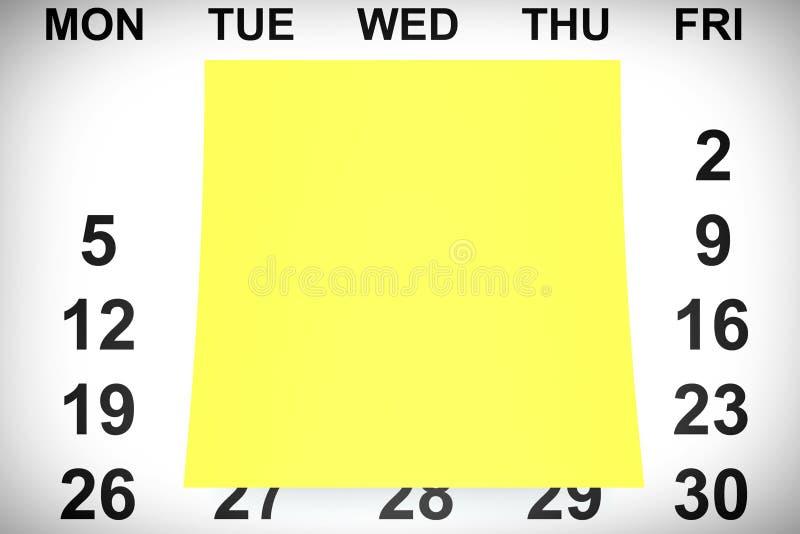 Geel Notadocument over Kalender het 3d teruggeven stock illustratie