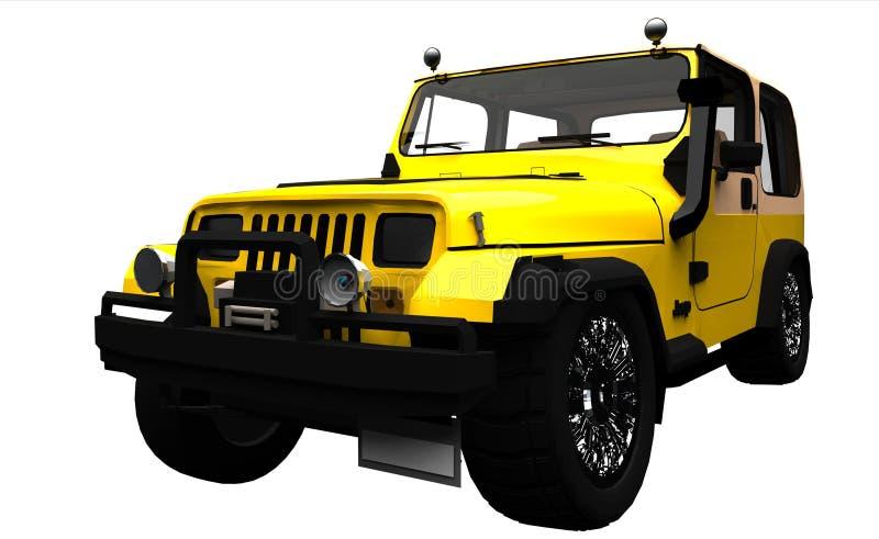 Geel offroad 4x4 voertuig stock illustratie
