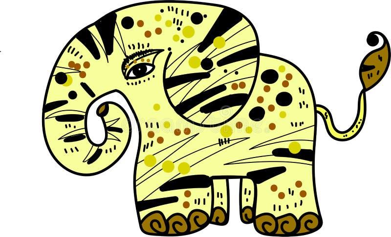 Geel olifants grafisch dierlijk art. royalty-vrije stock foto's
