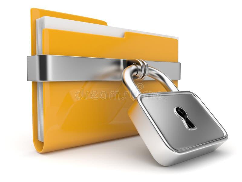Geel omslag en slot. De veiligheidsconcept van gegevens. 3D vector illustratie