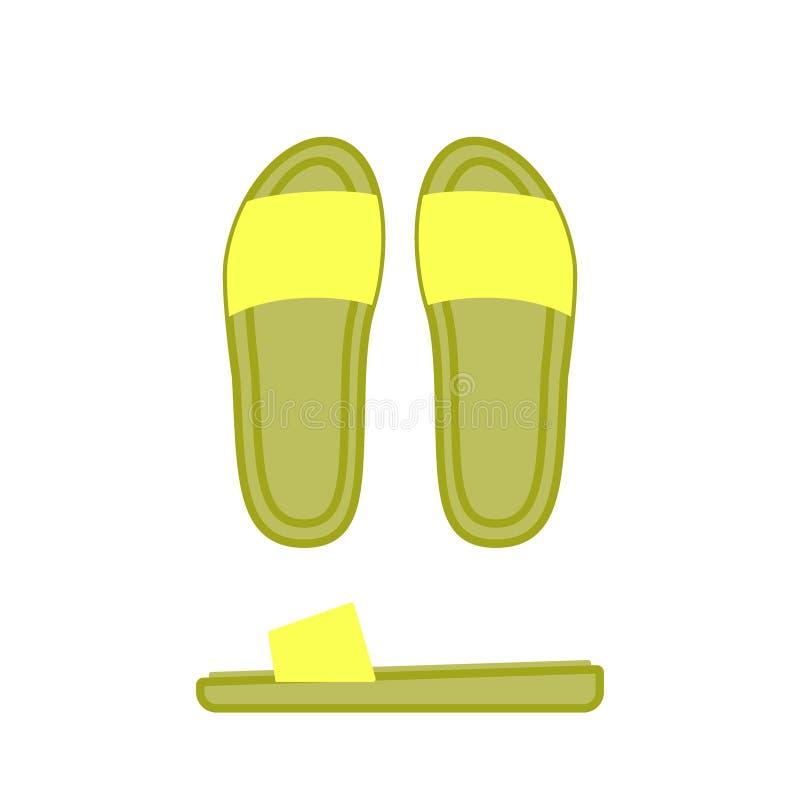Geel pantoffel zijaanzicht, profiel en hoogste mening Vrouwenschoen stock illustratie
