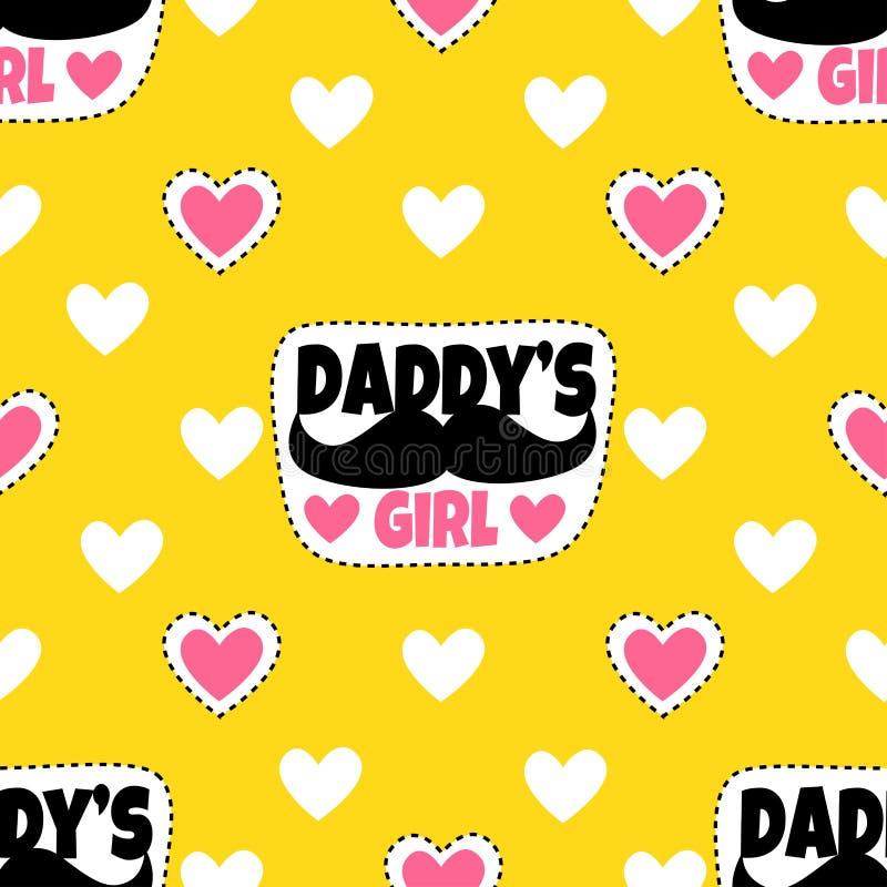 Geel patroon met harten en grappige stickers voor vrouw royalty-vrije illustratie