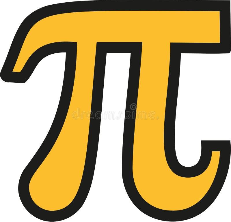 Geel pi-symbool met zwart overzicht stock illustratie