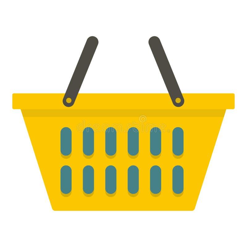 Geel plastic het winkelen geïsoleerd mandpictogram vector illustratie