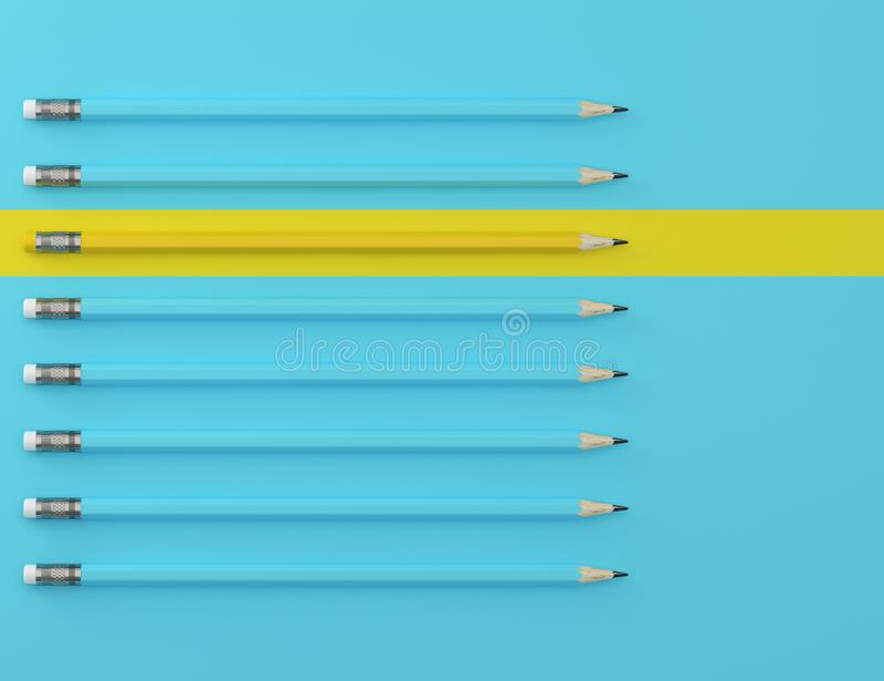 Geel potlood en blauw potlood op blauwe pastelkleurachtergrond minimaal creatief concept Het idee over de bedrijfsleiding, denkt  stock afbeeldingen