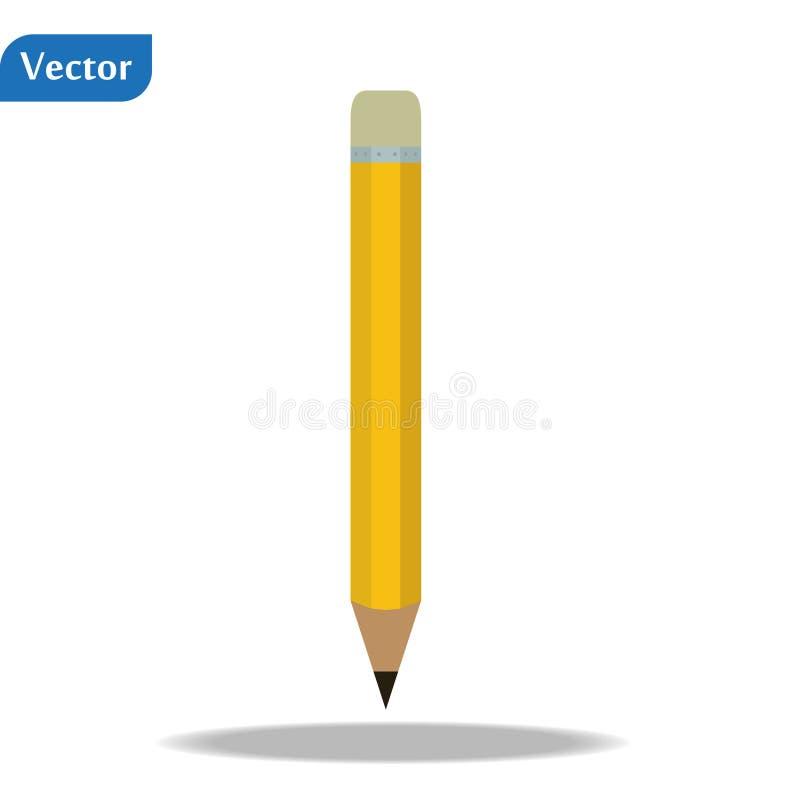 Geel potloodpictogram met gom Vector illustratie EPS10 stock illustratie