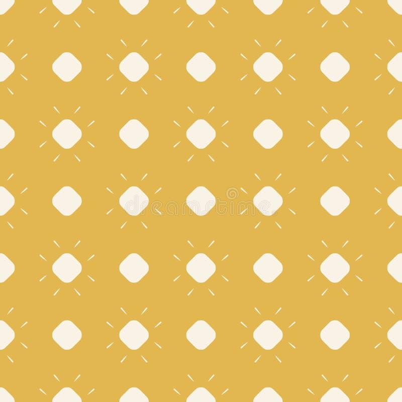 Geel punten vector naadloos patroon Eenvoudige geometrische textuur met cirkels, zon vector illustratie