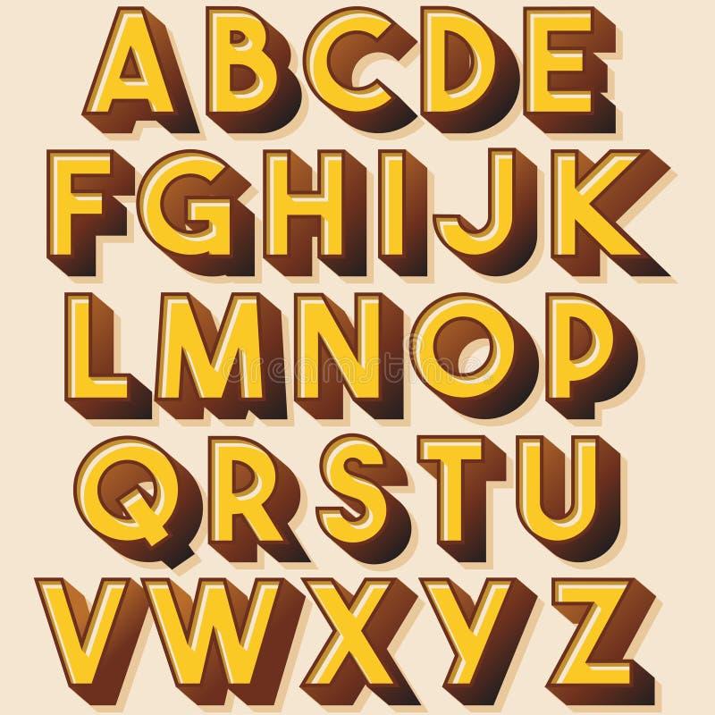 Geel Retro Kleurrijk Typografieontwerp vector illustratie