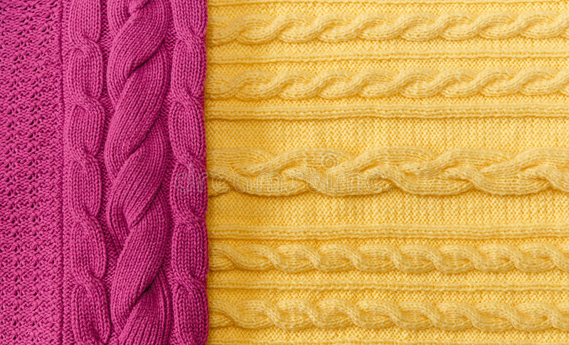 Geel; Roze Gebreide Punten met Vlechten en Patroon Gemaakte hand -; Fancywork royalty-vrije stock foto