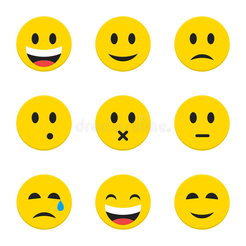 Geel Smiley Faces over Wit royalty-vrije illustratie