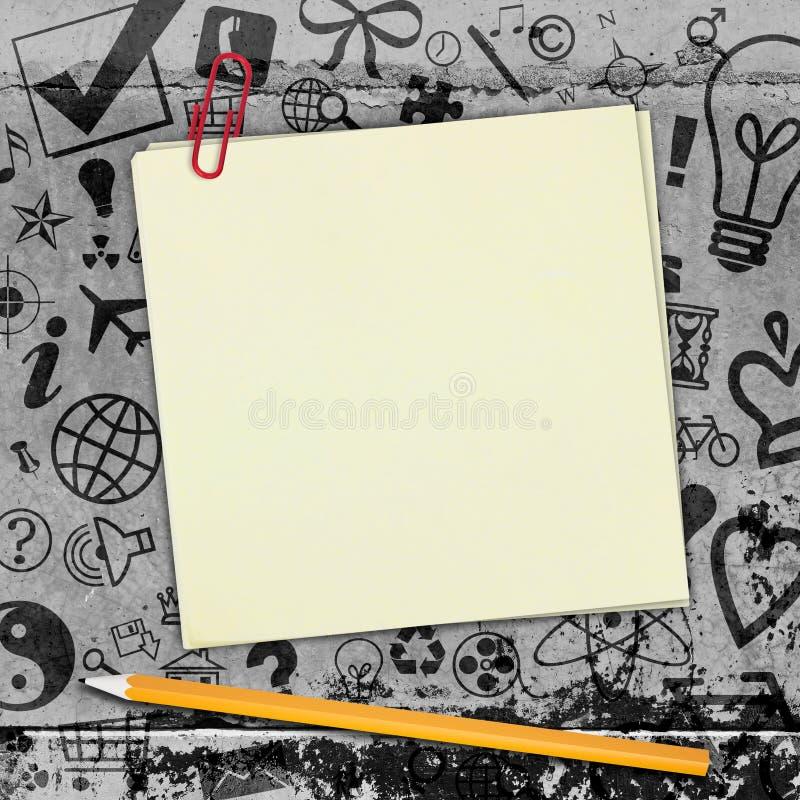 Geel stickers en potlood op concrete vloer met royalty-vrije stock afbeeldingen