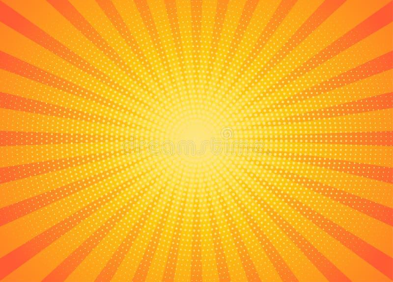 Geel stralenpop-art als achtergrond vector illustratie