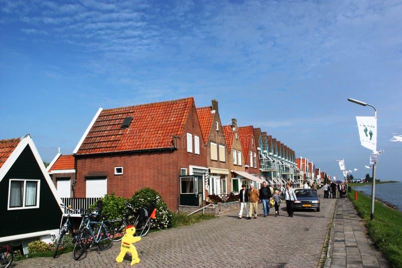 Geel teken van langzaam verkeer, Volendam stock foto