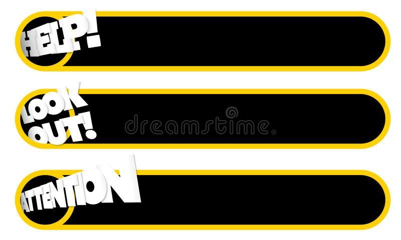 Geel tekstframe met symbolenhulp stock illustratie