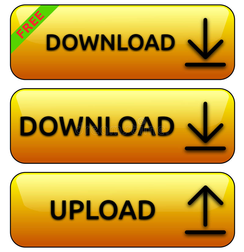 Geel upload/download knopen royalty-vrije illustratie
