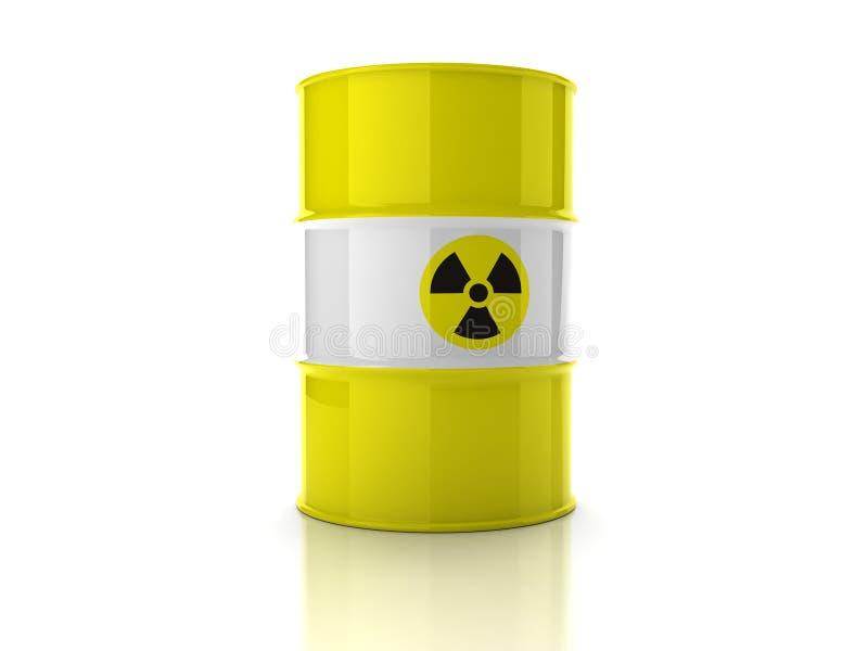 Geel vat met teken van straling royalty-vrije illustratie