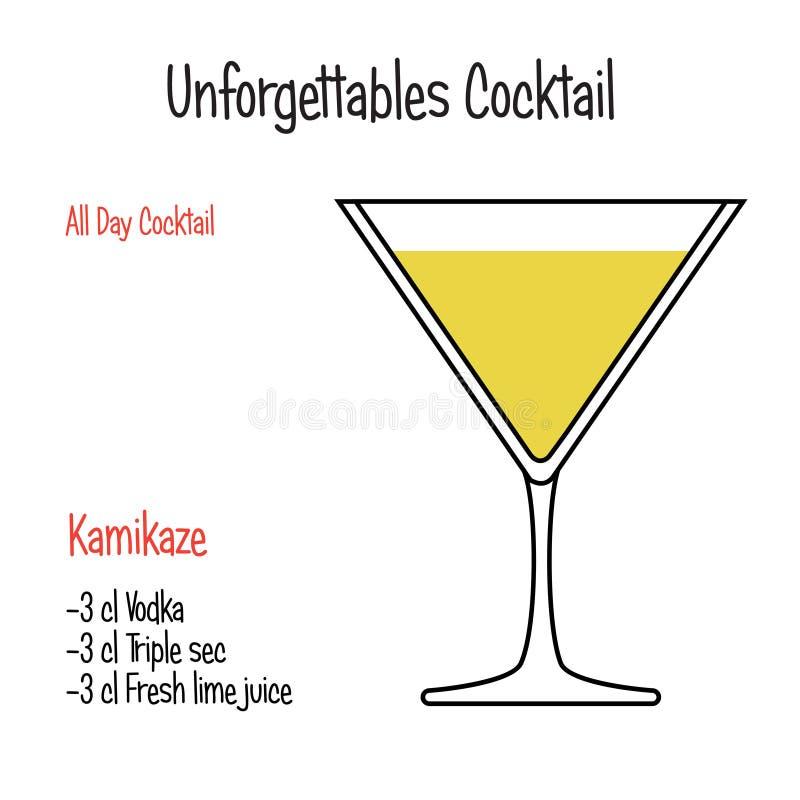 Geel vector geïsoleerd de illustratierecept van de Vogel alcoholisch cocktail royalty-vrije illustratie
