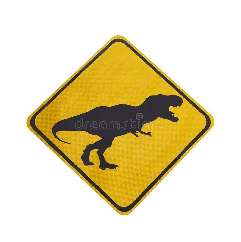 Geel verkeersetiket met geïsoleerd dinosauruspictogram stock foto