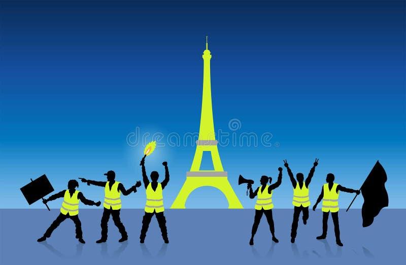 Geel vestenprotest in Parijs Frankrijk voor de Toren van Eiffel vector illustratie
