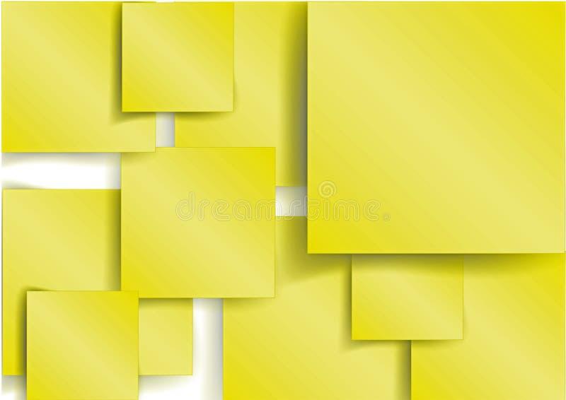 Geel Vierkant element met schaduw stock illustratie