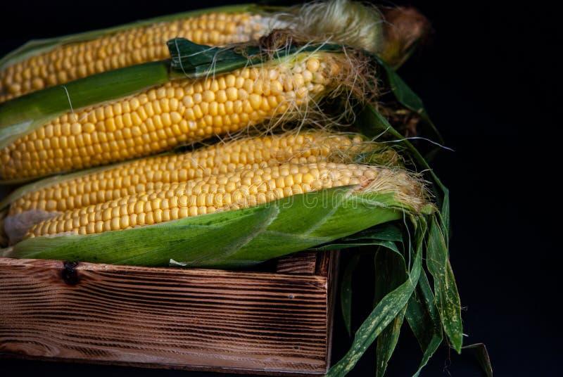 Geel zoet ruw graan in een houten doos op een zwarte achtergrond stock afbeeldingen