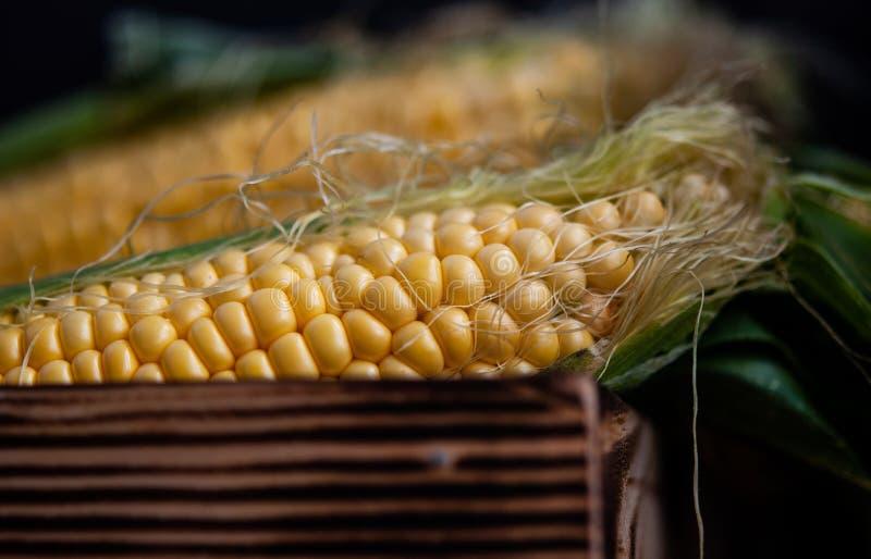 Geel zoet ruw graan in een houten doos op een zwarte achtergrond stock foto