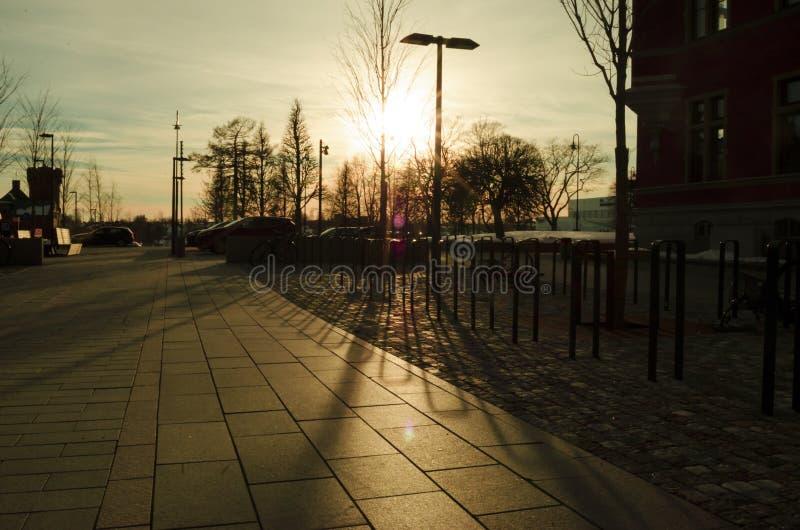 Geel zonsonderganglicht en schaduw op de vloer in een openluchtpark royalty-vrije stock fotografie