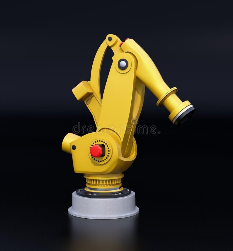 Geel zwaargewicht robotachtig die wapen op zwarte achtergrond wordt geïsoleerd stock illustratie