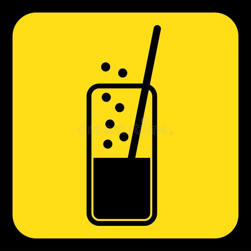 Geel, zwart teken - sprankelende drank, stropictogram vector illustratie