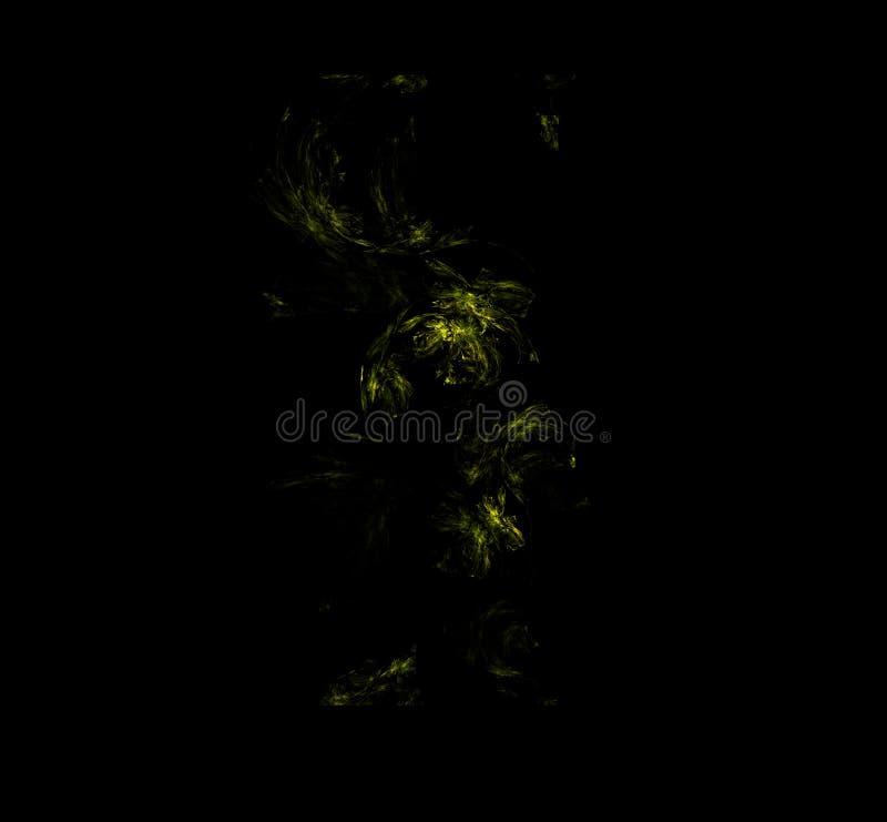 Geelgroene abstracte fractal patroonachtergrond Fantasiefractal textuur Digitaal art het 3d teruggeven Computer geproduceerd beel vector illustratie