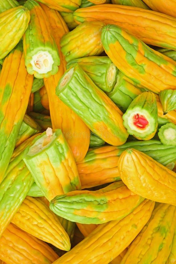 Geelgroene bittergourd of bittere meloen met wat reeds gesneden in de helften met binnen blootgesteld vlees royalty-vrije stock fotografie
