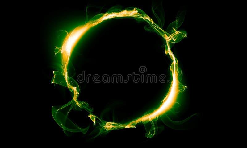 Geelgroene ring die uit een rook bestaan Het magische ding fantasie royalty-vrije illustratie