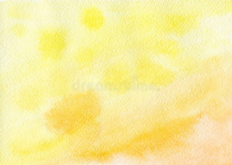 Geeloranje die achtergrond met waterverf wordt geschilderd stock fotografie