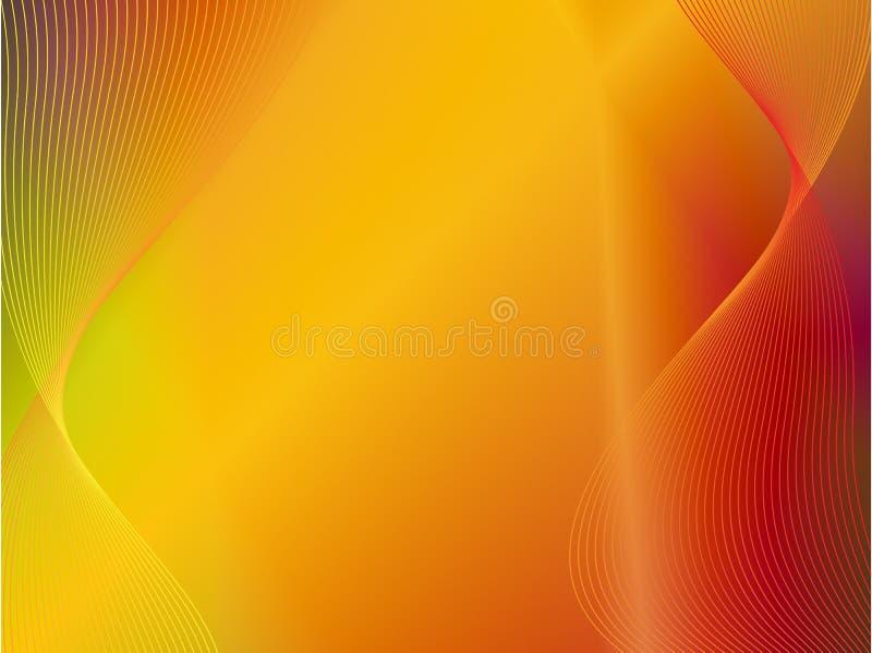 Geeloranje gouden abstracte achtergrond met golf vector illustratie