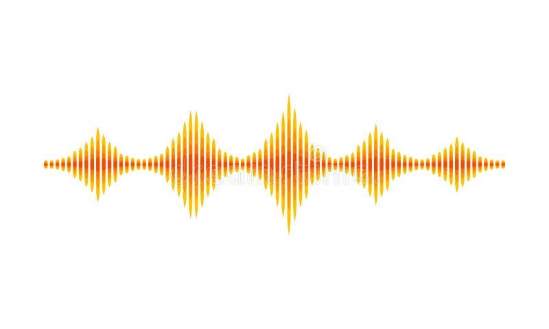 Geeloranje muziekgolf Correcte trillingen Abstracte digitale golfvorm Muzikaal thema Vector ontwerp royalty-vrije illustratie