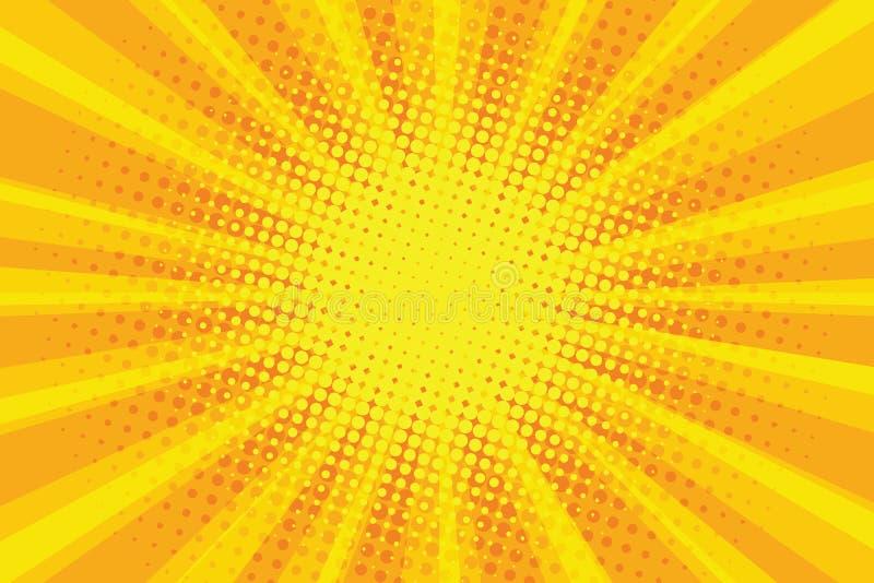Geeloranje retro de stralenachtergrond van het zonpop-art stock illustratie