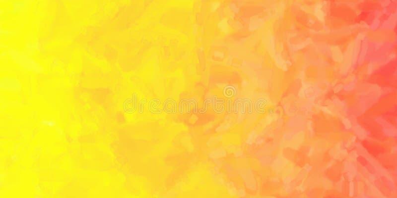 Geeloranje Rode Waterverfachtergrond royalty-vrije illustratie