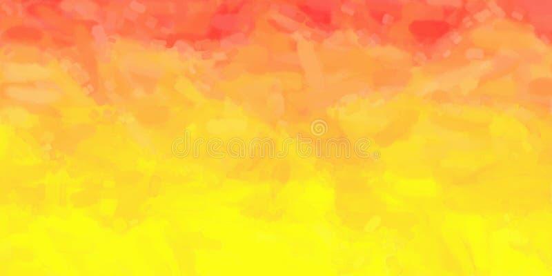 Geeloranje Rode Waterverfachtergrond vector illustratie