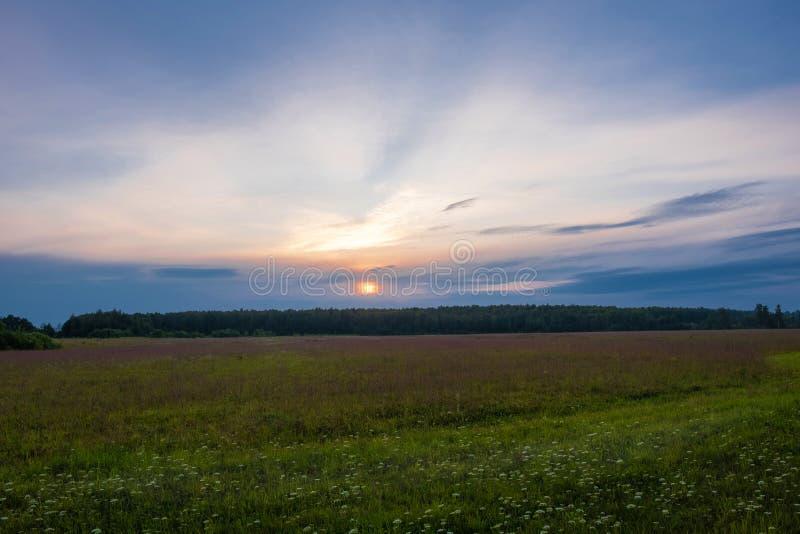 Geeloranje schijf van de het plaatsen zon over de horizon en een weinig bewolkt royalty-vrije stock fotografie
