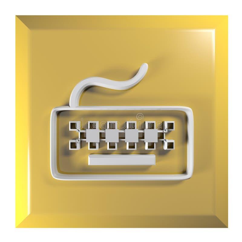 Geeloranje vierkante drukknop voor TOETSENBORD - 3D teruggevende illustratie stock illustratie