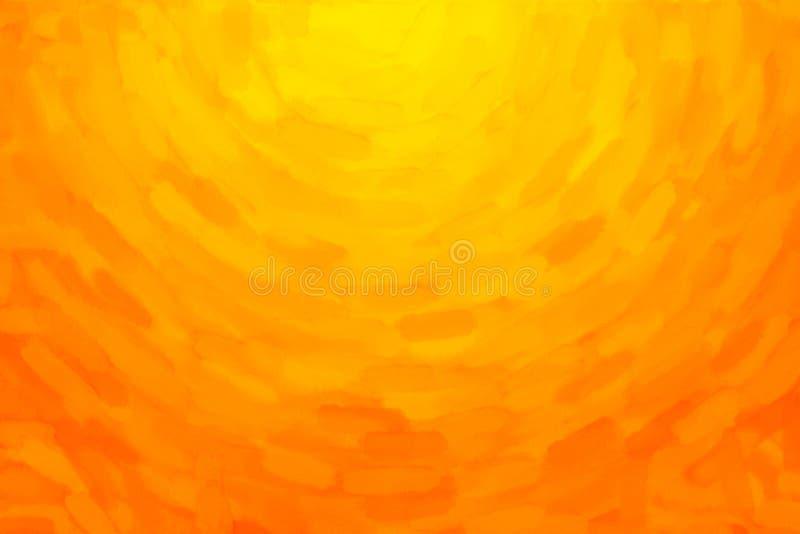 Geeloranje waterverfachtergrond stock illustratie
