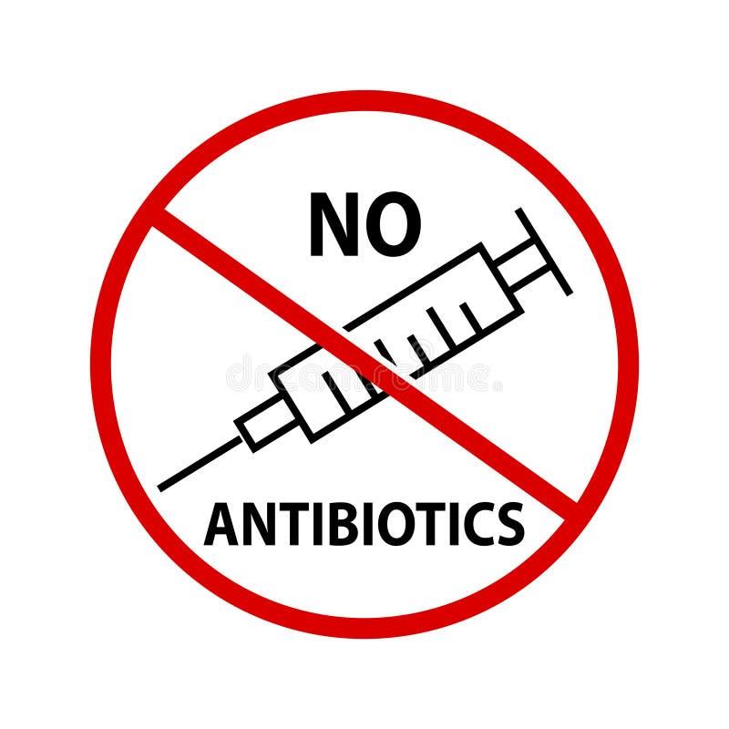 Geen antibiotica, Vectorillustratie stock illustratie