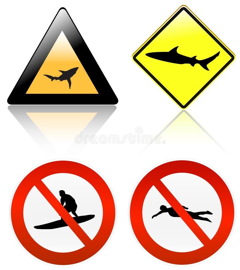 Geen branding & zwemt, haaigevaar stock illustratie