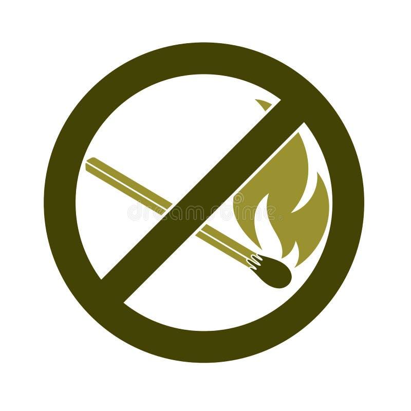Geen Brandteken Het symbool van de verbods open vlam vector illustratie
