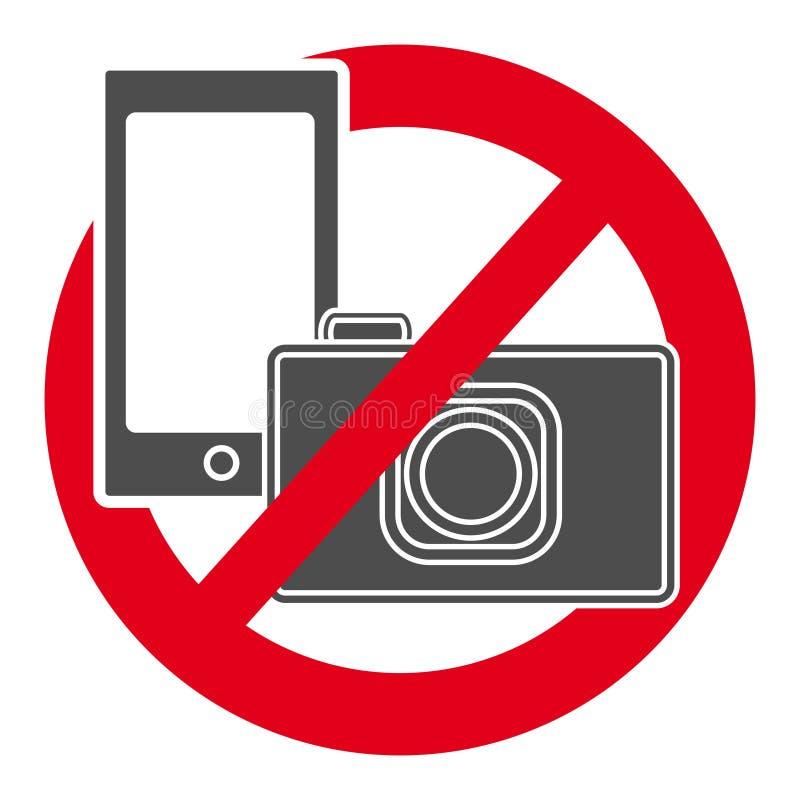 Geen camera en mobiel telefoonsymbool royalty-vrije illustratie