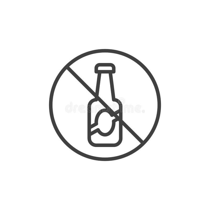 Geen de lijnpictogram van het alcoholteken vector illustratie