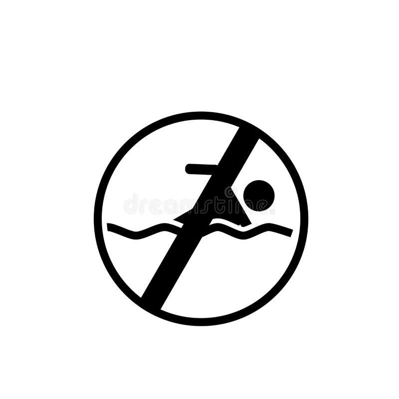 Geen die het zwemmen pictogramvector op witte achtergrond, Geen swimmin wordt geïsoleerd stock illustratie