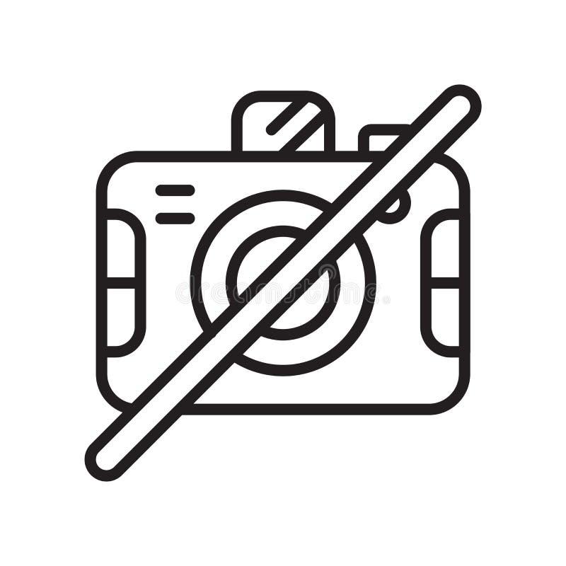 Geen die vector van het camerapictogram op witte achtergrond, Geen camerasi wordt geïsoleerd stock illustratie