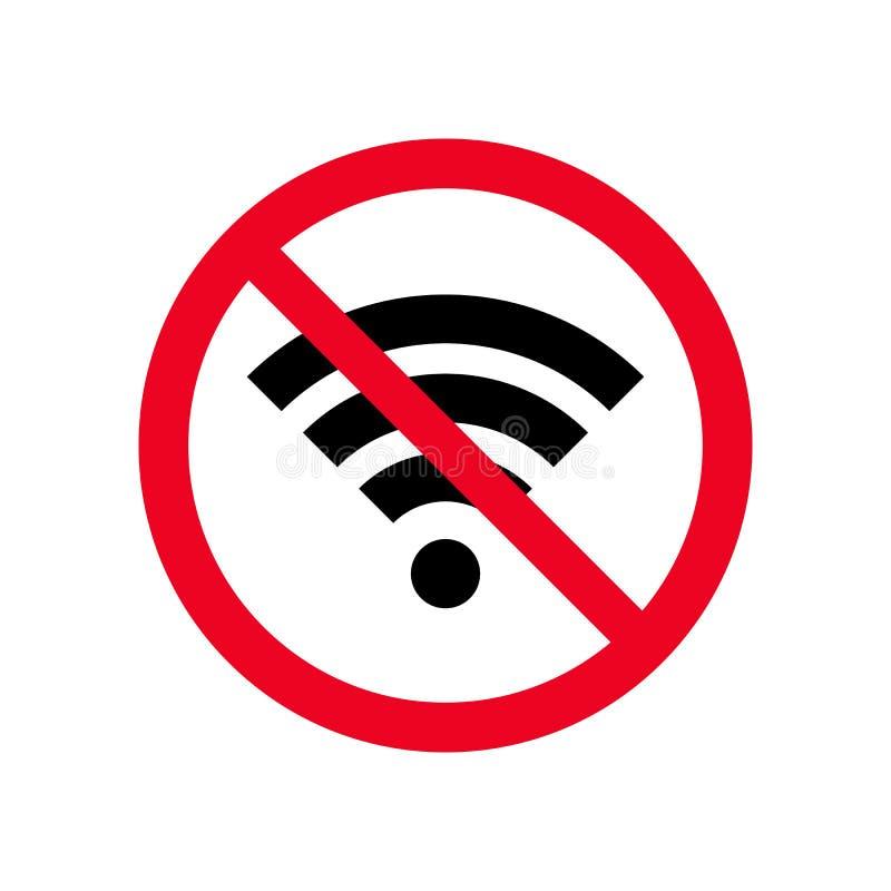 Geen draadloos wifi of teken voor de verre vector van het internettoegangpictogram op witte achtergrond, Rood verbodsteken Vlakke royalty-vrije illustratie