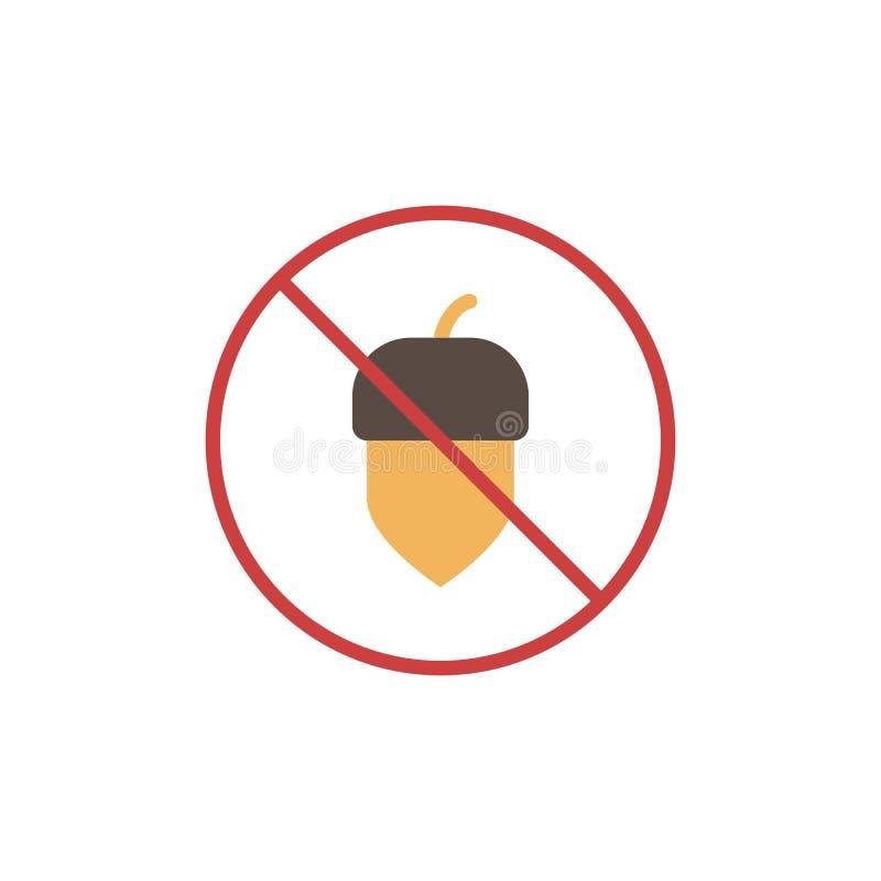 Geen eet het vlakke pictogram van de eikelnoot stock illustratie